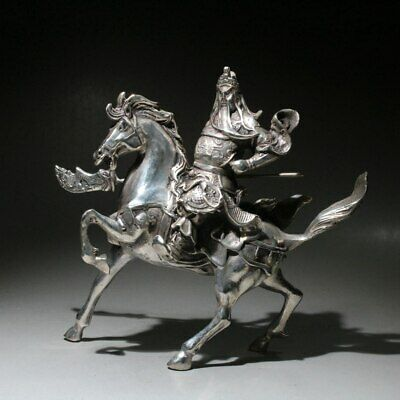 Collect China Handwork Miao Silver Carve Guan Yu Riding Horse Auspicious Statue