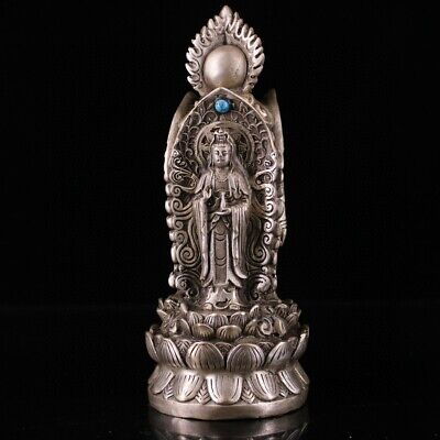 Collect Chinese Old Miao Silver Mosaic Turquoise Carved Kwan-yin Buddhism Statue