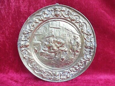 Beautiful, Old, Large Decorative Plate, Brass, Relief Plate, 44cm, Wall Plate