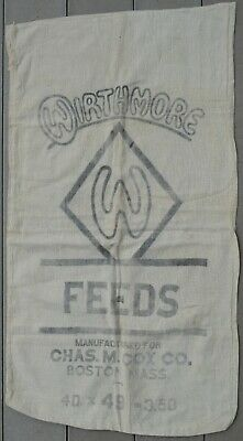 Antique Vintage Grain Sack Wirthmore Feed Boston Bag Natural Fabric With Logo