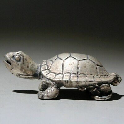 AAA Collectable China Old Miao Silver Handwork Carve Tortoise Interesting Statue