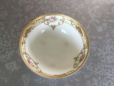 Pristine Antique Nippon Hand Painted Three-Footed Porcelain Small Bowl w/ Roses