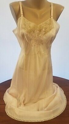 Vtg Stunning 1930S Satin Rayin Bias Cut Slip Dress Beautiful Applique On Lace 36