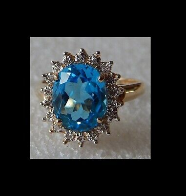 New / Vintage Franklin Mint  BOB MACKIE   14K Gold   Blue Topaz & Diamond ring
