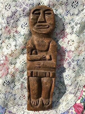 Old Vintage Hand Carved Wood Carving Figurine Woman ~ Primitive Folk Art