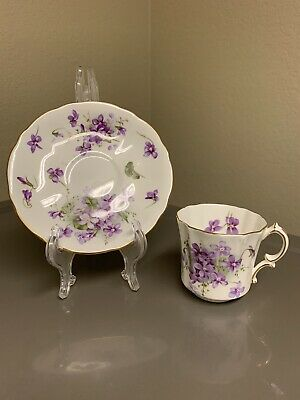 "Hammersley ""Victorian Violets"" English Bone China Tea Cup And Saucer"