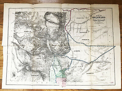 COLORADO TERRITORY MAP antique Embracing Central Gold Region Ebert Gilpin 1869