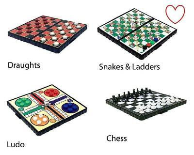 Travel Board Games Magnetic Set of 4 Chess Ludo Snakes and Ladders Draughts Game