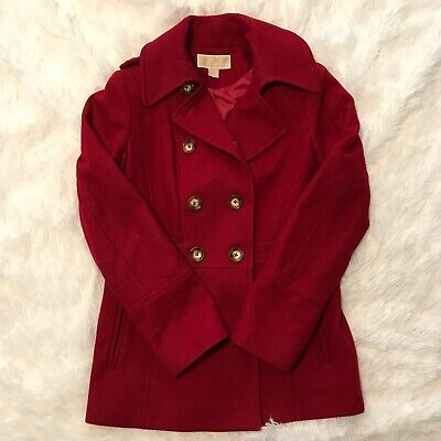 Michael Kors Womens Size Small Red Double Breasted Pea Coat Excellent Condition