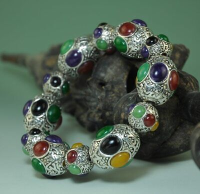 delicate china old hand-made Tibetan silver inlay Six color gem Bracelet Ab02C
