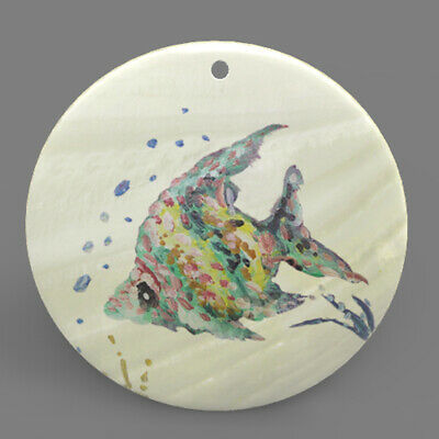Color Printed Fish Mother of Pearl Shell Pendant Necklace J1705 0256