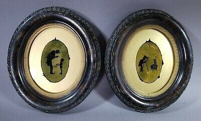 Pair Antique Folk Art Reverse Glass Paintings Eglomise Silhouettes c1860s
