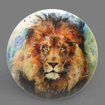 Color Printed Lion Mother of Pearl Shell Pendant Necklace J1705 0340