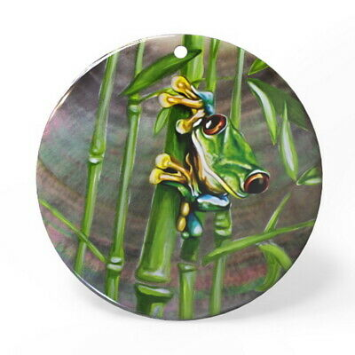 Hand Painted Frog Black Lip Shell Necklace Pendant ZP1810 0069