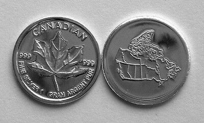 (10) 1 GRAM 0.999+ PURE SILVER ROUND CANADIAN MAPLE LEAF (a)