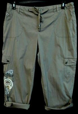 Style&co. brown paisley embroidered spandex stretch roll up capri pants 18W