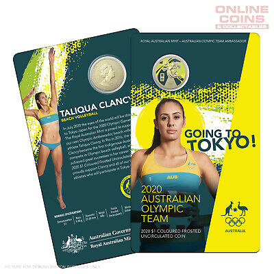 2020 $1 AlBr Coloured Frosted Uncirculated Coin - Australian Olympic Team