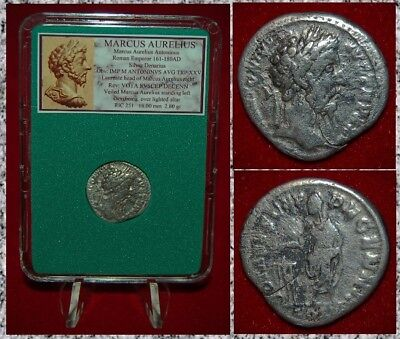 Ancient Roman Empire Coin MARCUS AURELIUS Emperor On Reverse Silver Denarius