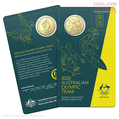 2020 50c Round CuNi Gold Plated Uncirculated Coin - Australian Olympic Team
