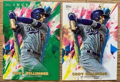CODY BELLINGER 2020 TOPPS INCEPTION GREEN PARALLEL + Base (2) Lot Dodgers