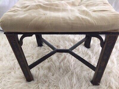 Vintage Chinese Chippendale Black Lacquer Stool - 1940s
