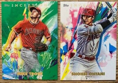 2020 Topps INCEPTION MIKE TROUT GREEN PARALLEL & SHOHEI OHTANI ANGELS LOT