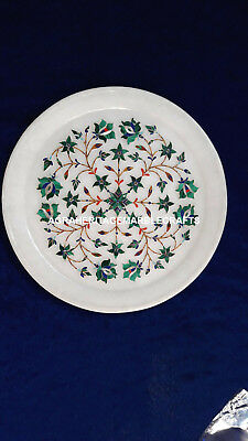 "9"" Elegant Marble White Round Plate Malachite Inlay Floral Arts Home Decor H4081"