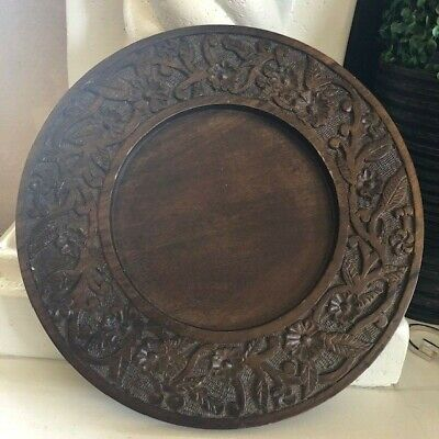 09' Plate Charger Hand Carved Wooden Tray Rustic Target Home Decor, Entertaining