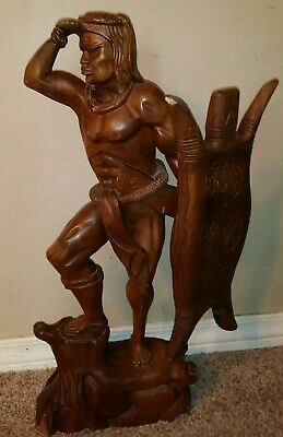 """Antique Wood Carved Statue. 27"""" Tall. Pacific Island Warrior"""