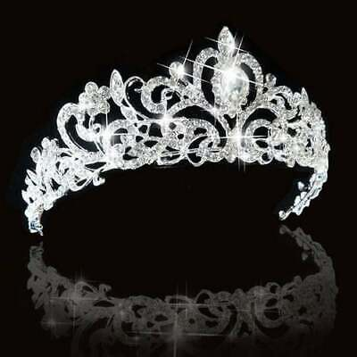 Bridal Princess Austrian Crystal Tiara Wedding Crown Silver New + Sanitised