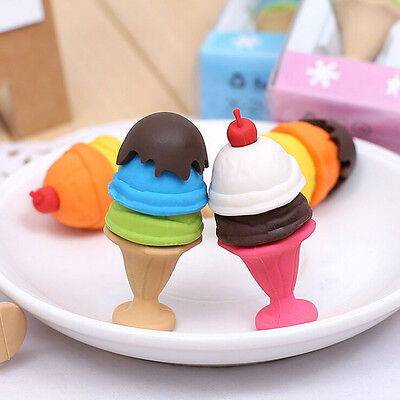 Cartoon Ice Cream Style Eraser Soft Rubbers Kids Stationery Randoms Colour MO