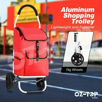 Aluminium Shopping Cart Trolley Foldable Grocery Storage Bag Dolly Rolling Carts