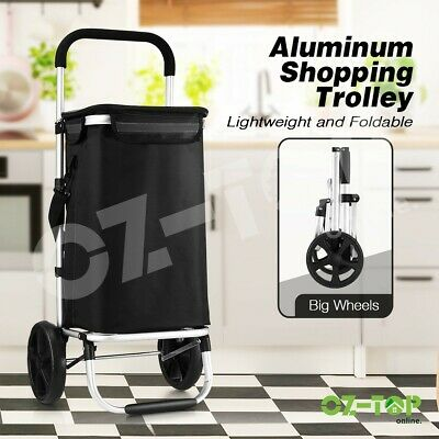 Foldable Shopping Trolley Cart Dolly Bag Grocery Storage Rolling Cart Waterproof