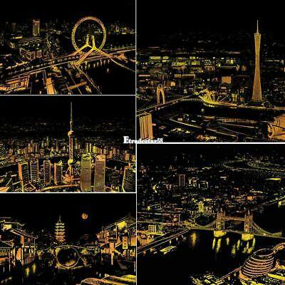 Scratch Drawing Coloring Painting Multicolor World City Nights Pattern ETDS