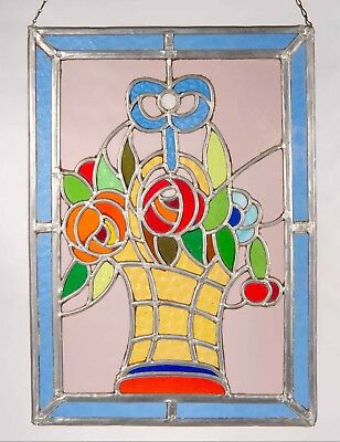 Antique Stained Glass Window with Leaded Glass Flower Bucket