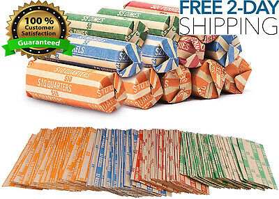 High Quality Kraft Paper Coin Roll Wrappers Quarters Nickels Dimes Pennies