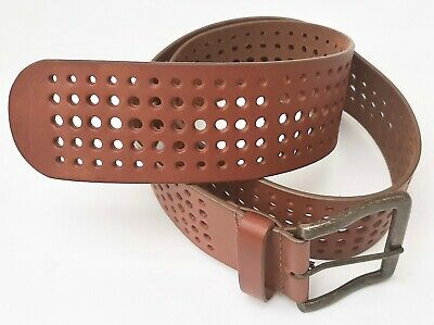 MONSOON - Tan Multi Hole Design Wide Leather Belt - Medium - New without tags.