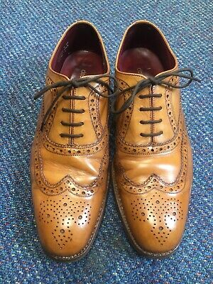 Loake Fearnley Tan Brogue Shoes Size UK 8 Goodyear Welted Sole
