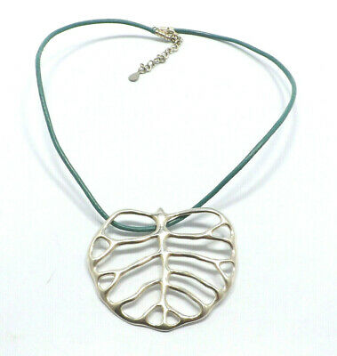 Angela Cummings AC Studios Argent Sterling Grand Skeletal Feuille Cuir Collier