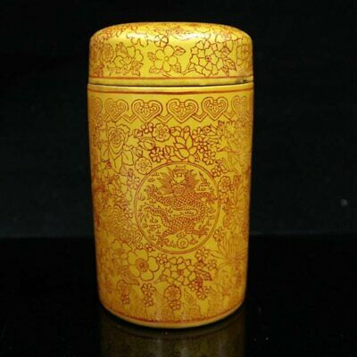 china old hand-made famille-rose porcelain  gold drawing dragon tea caddy /Wc01
