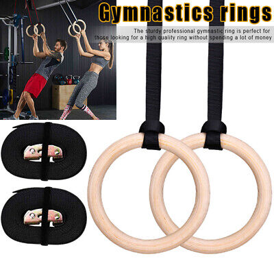 Wooden Gymnastic Rings Sport Crossfit Gym Exercise Fitness Strength Training AU