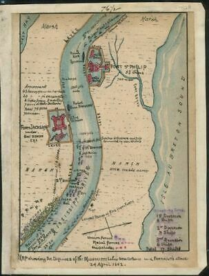 """18"""" x 24"""" 1861 to 1862 Map of defenses of the Mississippi below New Orleans"""