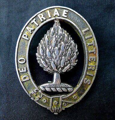 SCOTCH COLLEGE BADGE c1925. DEO PATRIAE LITTERIS. STERLING SILVER. STOKES. MELB.