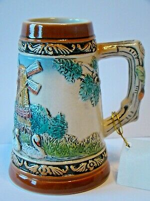 "Ter Steege Old Dutch Beer Stein relief bar Holland hand painted 4"" tall"