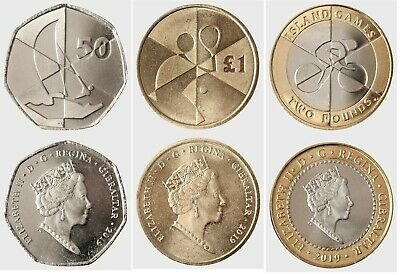 gibraltar ca 2020 Island Games £2 £1 50p coins sailing tennis cycling 3 value