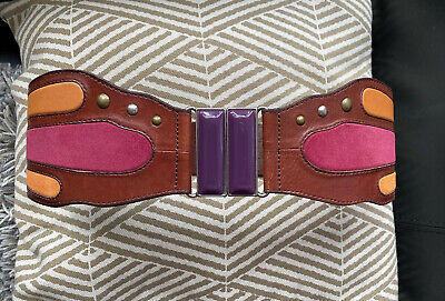 Fossil Women's Butterfly Multicolor Leather Belt Elasticated Back Size S NEW