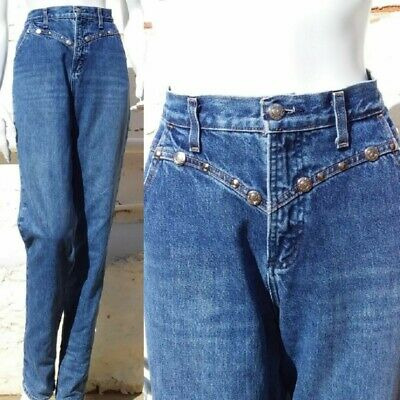 Vintage ROCKIES Studded High Waisted Jeans 90s Cowgirl Country 10 12 Tall