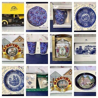 Choice Of Boxed Ringtons Ware Chintz Willow Story Tea Caddy Blue And White