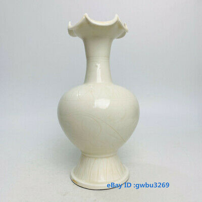 Collect Rare Old Chinese Ding Porcelain Handwork Flower Mouth Vase Bottle