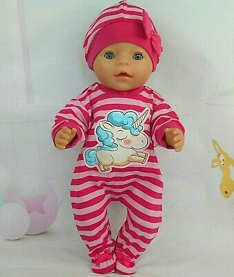 "Dolls clothes for 17"" Baby Born doll~BIG UNICORN PINK STRIPE JUMPSUIT & HAT"